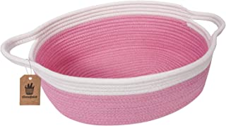 Goodpick Small Woven Basket | Cute Pink Rope Basket | Baby Cotton Basket | Nursery Room Storage Basket | Toy Chest Box with Handles Basket 12