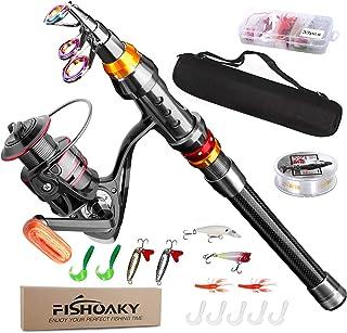 FISHOAKY Canna da Pesca Spinning, Fibra di Carbonio Canne Pesca Telescopica per Acqua Salata & Acqua Dolce | Bambini e Adu...