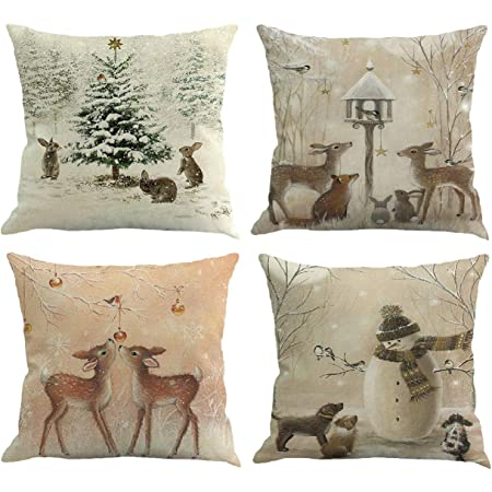 Amazon Com Youngnet Set Of 4 Christmas Deer Animal Print Throw Pillow Cover Winter Home Decor Cushion Cover 18 X 18 Home Kitchen