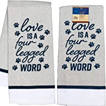 TopNotch Outlet Kitchen Towels - Pet Decor - Dish Towel (2 Pc) Pet Lovers Show Their Love for Furry Paw Friends - Hand Tow...