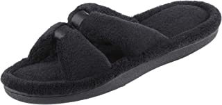 isotoner Women's Signature Microterry Satin X-Slide Slipper