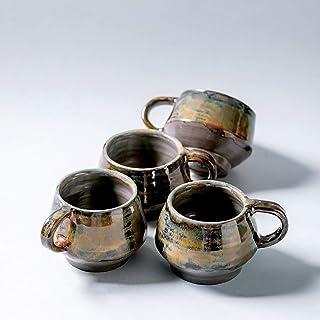 Taza de cerámica vintage rústica hecha a mano para café, té, leche, decoración del hogar, esmalte marrón gris oscuro con t...