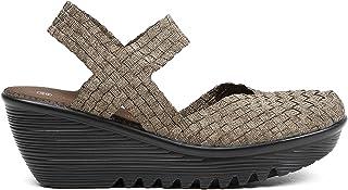 B M Bernie Mev damskie sandały na koturnie w Nowym Jorku - lekkie sandały z zamkniętymi palcami z pianki z pamięcią kształ...