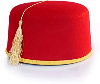 40422c59b75eef Red Fez Hat - Red with Gold Tassel & Trim - Costume Accessory