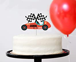 Vintage Race Car - Custom Name Cake Topper | Race Car Birthday Party Decorations | Race Car Cupcake Topper | Personalized Cake Topper