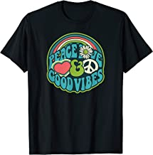 LOVE PEACE | GOOD VIBES | 1970s Color Blast | Hippie Design T-Shirt