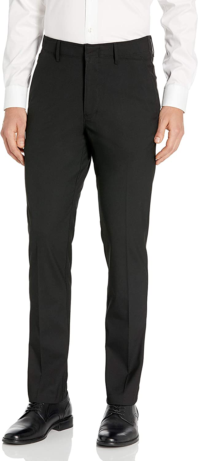 Kenneth Cole REACTION Mens Stretch Modern-Fit Flat-Front Pant