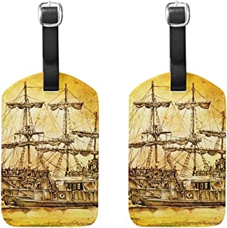 MASSIKOA Antique Boat Sea Motive Drawing Cruise Luggage Tags Suitcase Labels Bag,2 Pack