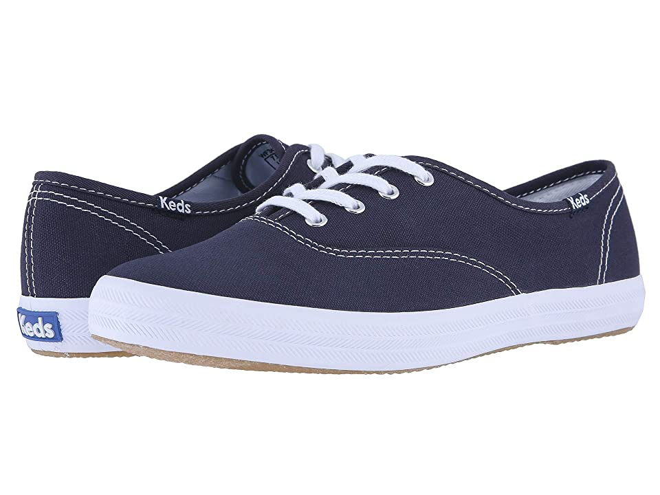 Retro Vintage Flats and Low Heel Shoes Keds Champion-Canvas CVO Navy Canvas Womens Lace up casual Shoes $45.00 AT vintagedancer.com