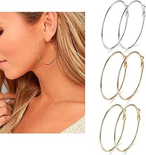 3 Pairs Big Hoop Earrings, Stainless Steel Hoop Earrings...
