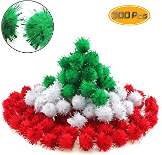 Wpxmer 300 Pcs 25mm Christmas Pom Poms Multicolor Glitter Pom Poms for Craft Project, DIY Creative Crafts Decorations, Green, Red and White