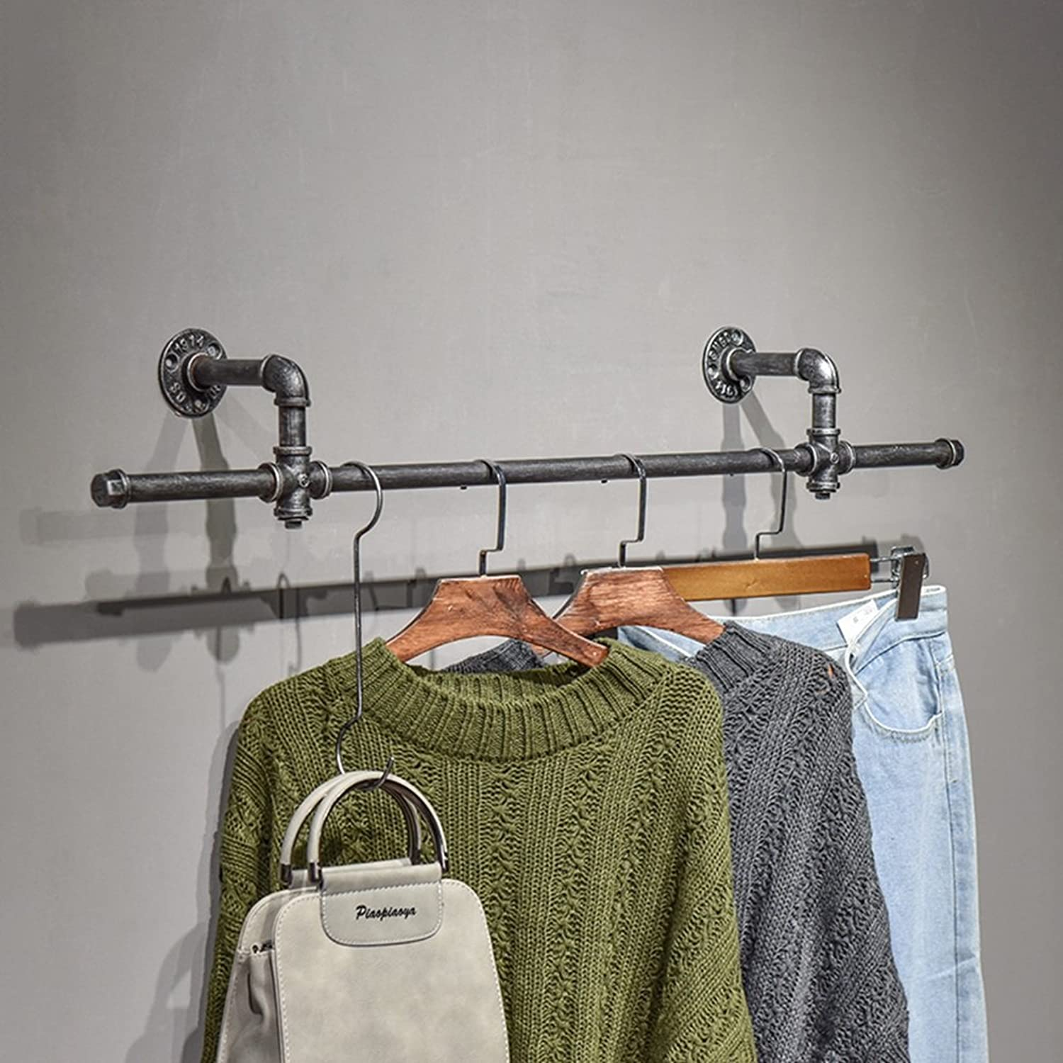QIANGDA Coat Rack Wall Mounted Clothes-Rack Hat Hanger Display Shelf for Home Clothes Shop Village Retro Style, 4 Styles Optional (color   2 )