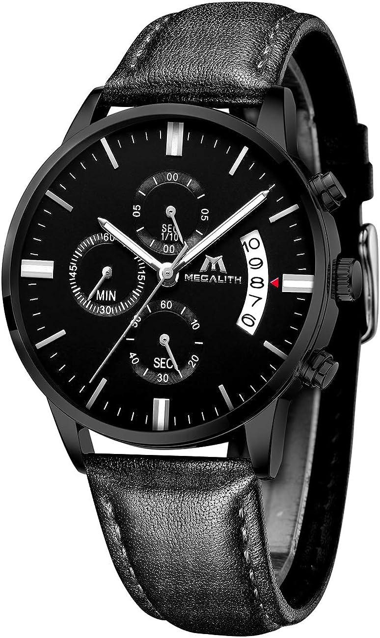MEGALITH Relojes Hombre Militar Negro Relojes Cronografo Analogico Reloj de Pulsera Deportivo Impermeable Calendario