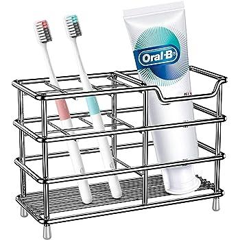 Zahnb/ürstenst/änder mit Platz f/ür 4 B/ürsten und Zahnpasta Halter f/ür Zahnpflege Produkte mDesign freistehender Zahnb/ürstenhalter durchsichtig und silberfarben
