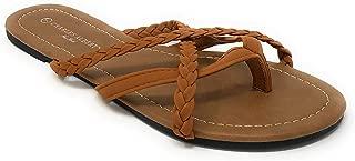Women's Strappy Braided Criss-Cross Thong-Toe Flip-Flop Sandal