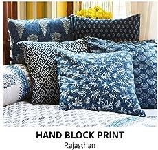 Worldoftextile Hand block print Indigo Blue Cushion Covers - Set of 5 Indian Cushion cover