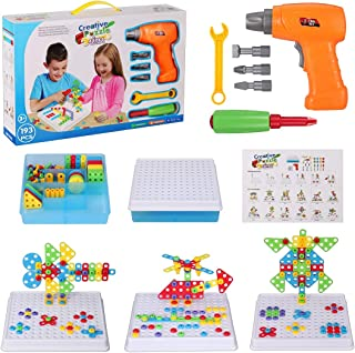 Creative Drilling Toy with Screwdriver Tool Playset, STEM Toy Drill, Mosaic Design Building Puzzles for Boys Girls 3 4 5 6 7 8 Year Olds