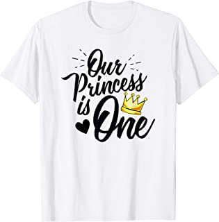 Daughter 1st Birthday Novelty T-Shirt for Moms Dads Princess