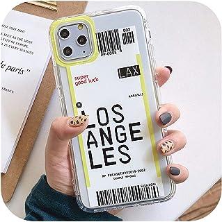 ミニマリズム都市耐衝撃性電話ケースiPhone 11 Pro Max XR XS Max X 8 7 Plusカメラ保護ソフトTPU航空券レターバックカバー-Yellow-For iphone 11 pro