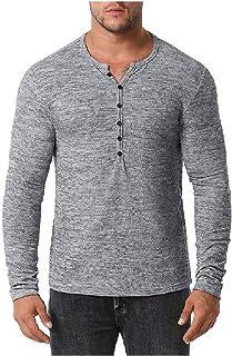 HEFASDM Men's Long-Sleeve O-Neck Henley Tees Top Pure Colour Fall Winter Shirt