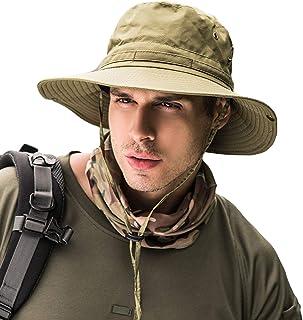 Maca.lina Sombreros de Sol Unisex al Aire última intervensión, Gorra Ancha Militar Transpirable y Plegable para Hombres y Mujeres para Pesca de Viaje