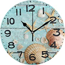 Naanle 3D Beautiful Print 9.5 Inch Round Wall Clock, Battery Operated Quartz Analog Quiet Desk Clock for Home,Office,School 9.5in Multi g12192286p239c274s441