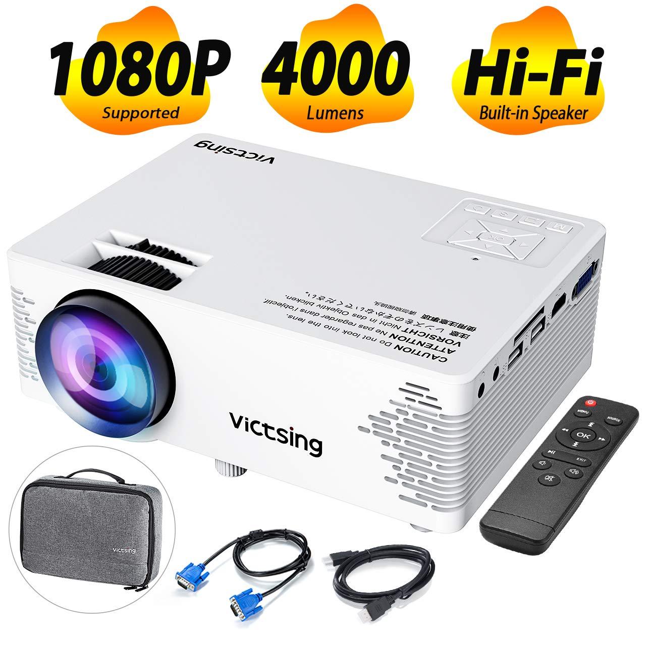 VicTsing Proyector Cine en Casa 4000 Lumenes y 50000 hrs de Vida, Mini Proyector Portatil, con Bolsa Portátil, Control Remoto, HDMI/VGA/AV/Cargador Cable, Cepillo Limpia etc: Amazon.es: Electrónica