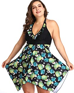 d5d11c9b28 sanatty Women's Plus Size Swimsuit Floral Printed Plus Swimwear Two Pieces  2XL-6XL