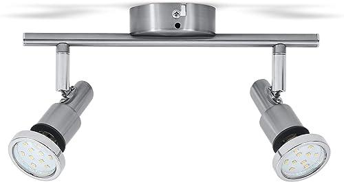 B.K.Licht plafonnier SDB LED 2 spots orientables, IP44, luminaire plafond salle d'eau, 2 ampoules LED 5W GU10 incl, 4...