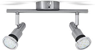 B.K.Licht plafonnier SDB LED 2 spots orientables, IP44, luminaire plafond salle d'eau, 2 ampoules LED 5W GU10 incl, 400Lm ...