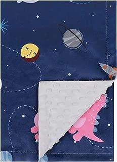 """TILLYOU Plush Minky Dot Baby Blanket for Boys - Navy Dinosaur & Space - 100% Microfiber Polyester, 2-Layer Fleece Receiving Swaddle Blanket, Super Soft Plush Toddler Blanket for Crib/Stroller, 30""""x40"""""""