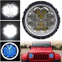 HOZAN 7 Inch LED Headlight with Blue Atmosphere Light White Halo Ring for Jeep Wrangler JK JKU TJ CJ Hummer H2 Patrol Y60 Harley Road King Street Glide (1-Pack)