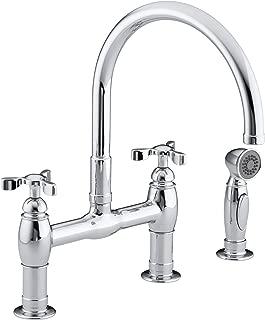 KOHLER K-6131-3-CP Parq Deck-Mount Kitchen Faucet with Spray, Polished Chrome