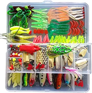 XDeer Fishing Lures Kit Set for Bass Including Trout,Salmon,Including Spoon Lures,Soft Plastic Worms, CrankBait,Jigs,Topwater Lures and Other Saltwater Freshwater Lures (with Free Tackle Box)
