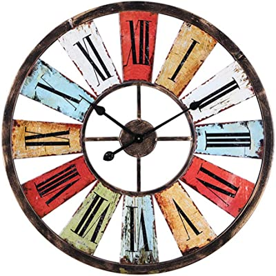 GZD Heavy Metal Industrial Style Wall Clock,Colorful Round Metal Roman Numerals Wall Clock Bar
