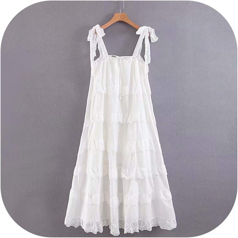 Women Lace Trims Layered Ruffle Big Swing Romantic Party Dress