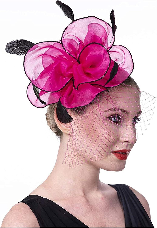 LOVESOO Fascinators Hat Flower Feathers on Headband Hair Clip Tea Party Headwear Kentucky Derby Hats for Women Girls