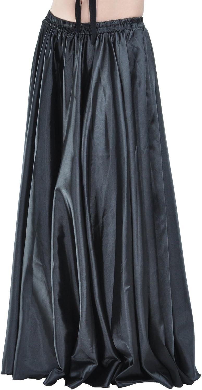 DEMON BABY 2018 Elegant Satin Belly Dance Maxi Skirt