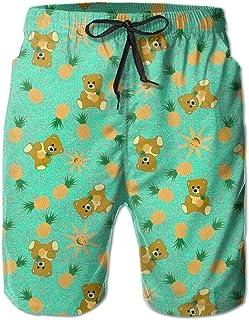 Paint0 Tropical Bear - Island Sunshine Mens Summer Breathable Swim Trunks Beach Shorts Cargo Shorts