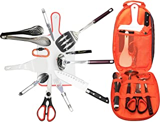 Bisgear 13/14pcs Backpacking Camping Cookware Kitchen Utensil BBQ Organizer Travel Mess Kit with Water Resistant Case, Cutting Board, Rice Paddle, Tongs, Scissors, Knife, Spork, Wine Opener