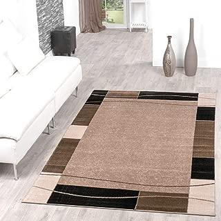 T&T Design Alfombra De Salón Moderna Económica Diseño Ribete Beige Negro Mejor Precio, Größe:120x170 cm