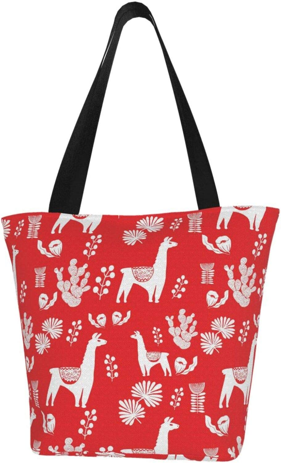 Cheap sale Cactus and Alpaca Red Extra Large Resistant Water Selling rankings Canvas Ba Tote