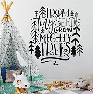 xiaomeihao Nursery Quote Wall Decal from Tiny Seeds Grow Mighty Trees Wall Sticker Tribal Kids Room Decor Woodland Tree Vinyl Decal 57X60Cm
