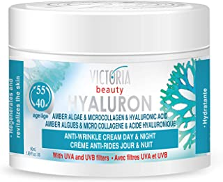 Hyaluron & Amber Algae Anti-Aging Day and Night Cream with Micro-Collagen and Hyaluronic Acid for Age 40 and Above - 50 ml