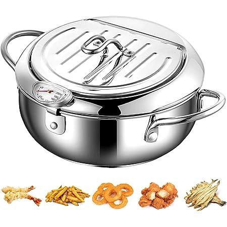 Tempura Poêle à frire en acier inoxydable 304 avec thermomètre et couvercle anti-goutte pour poulet, frites, poissons et crevettes (2200 ml)