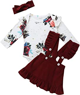 JEATHA 3Pcs Long Sleeve Floral Print Romper with Suspender Skirt Headband Set Lovely Baby Girls Outfit