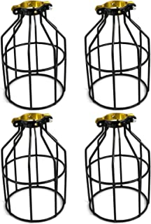 Newhouse Lighting Metal Lamp Guard for Pendant String Lights and Vintage Lamp Holders, Industrial Wire Iron Bird Cage, 4-Pack (Renewed)