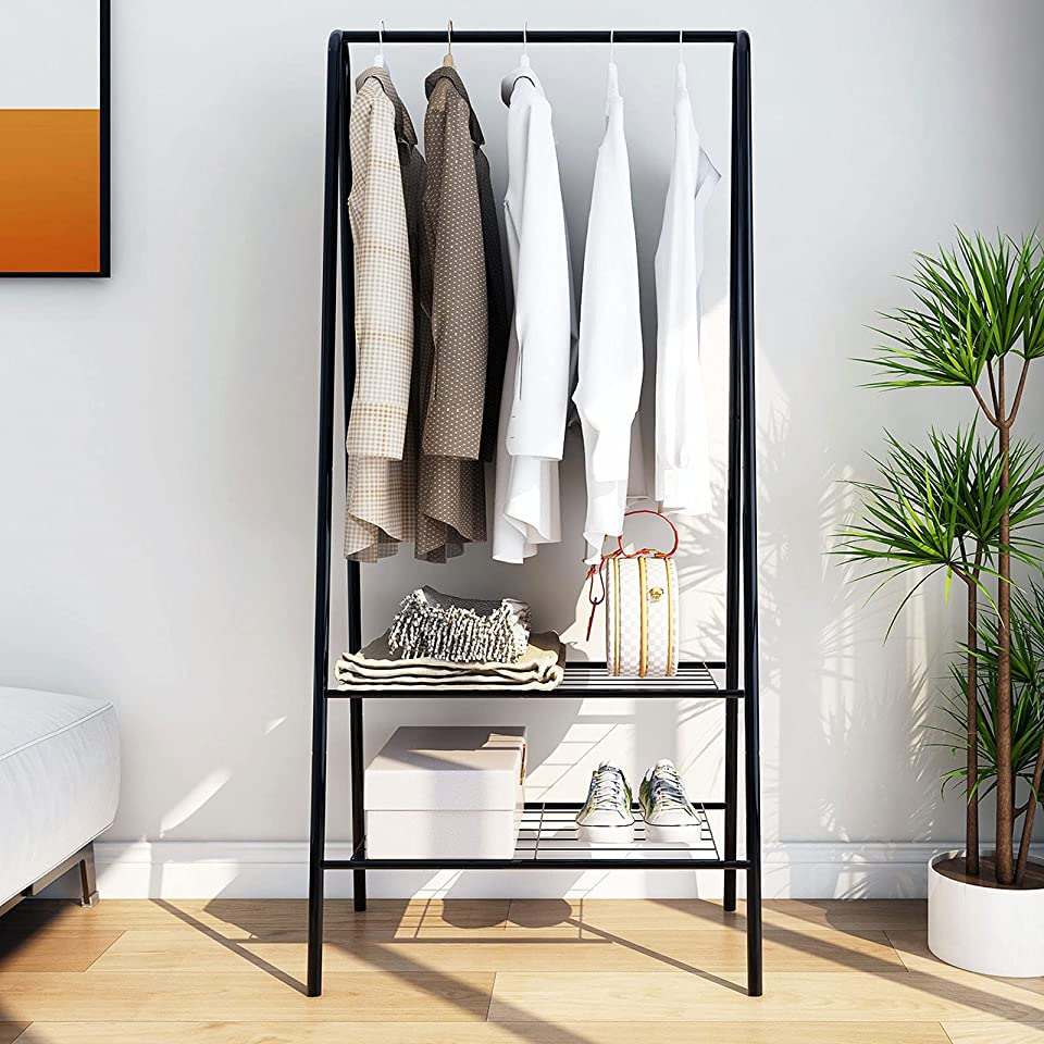Small Clothes Rail Rack with Shelves, Heavy Duty Clothes Freestanding Rack Portable Drying Rack for Hanging Clothes with Rod and lower Storage shelf for Boxes shoes Boots Rack Organizer , Black