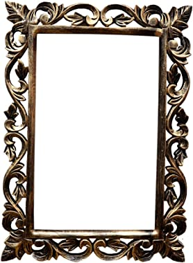 Al Noor Wooden Wall Mirror Frame for Home Decor with Beutiful Carving & Antique Polish