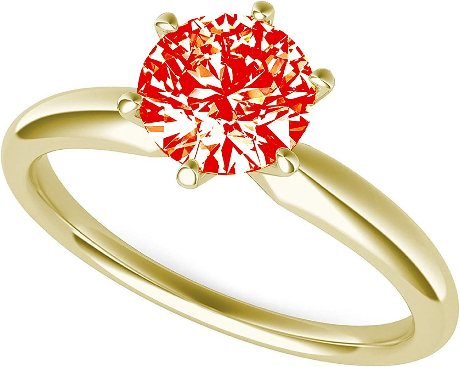 2.0 ct Brilliant Round Cut Solitaire Hot Red Simulated Diamond CZ Ideal VVS1 D 6-Prong Engagement Wedding Bridal Promise Anniversary Ring in Solid Real 14k yellow Gold for Women